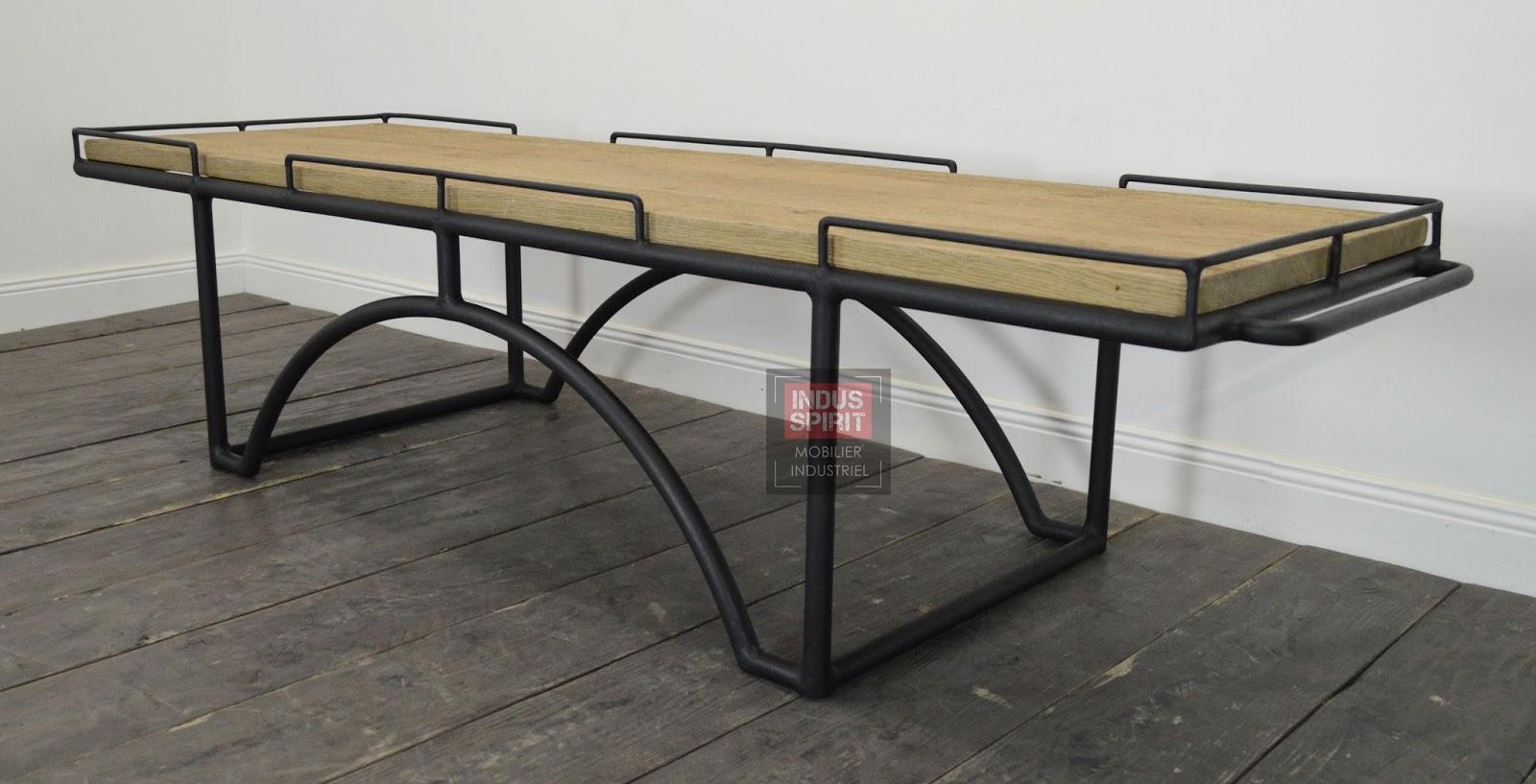 Table basse design industriel bois et m tal - Table basse metal industriel ...