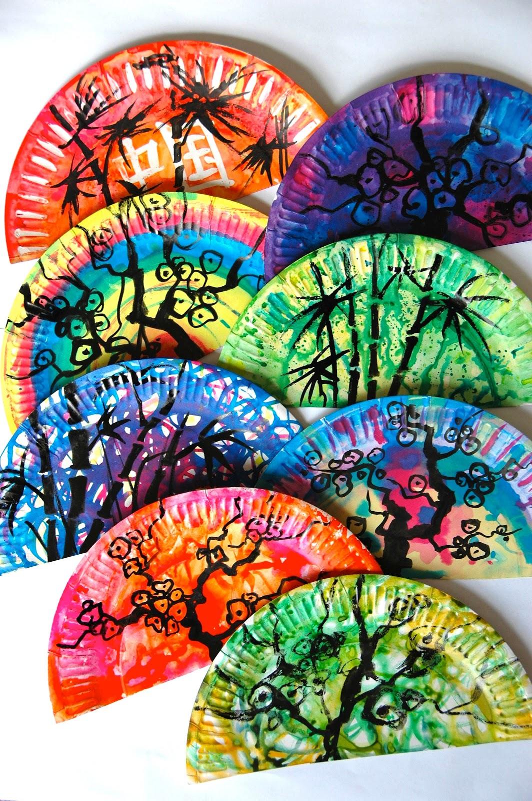 Arteascuola Oriental Fans With Paper Plates