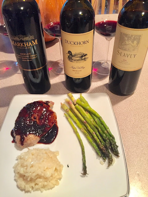 Merlot pairing with boneless pork chop with fig sauce risotto