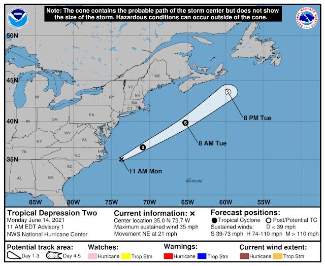 Se forma depresión tropical en la costa de Carolina del Norte