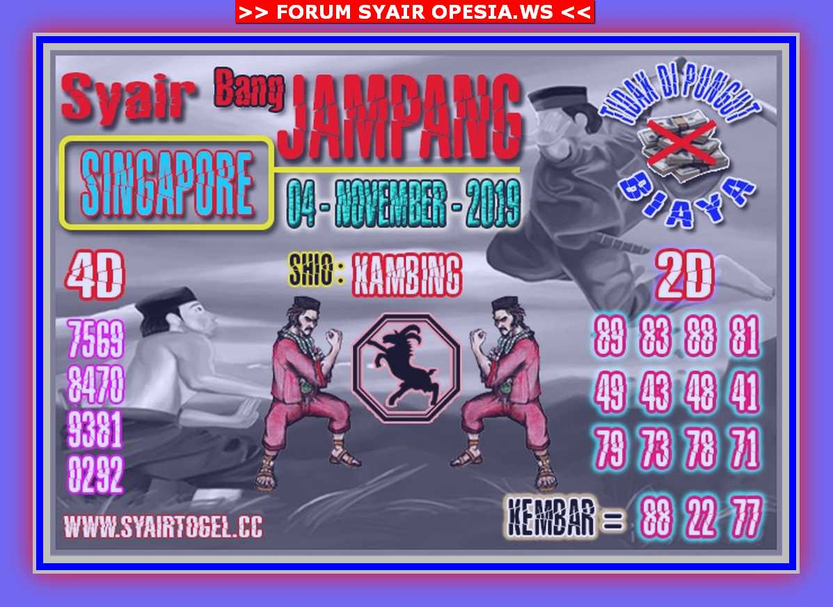 Kode syair Singapore Senin 4 November 2019 138