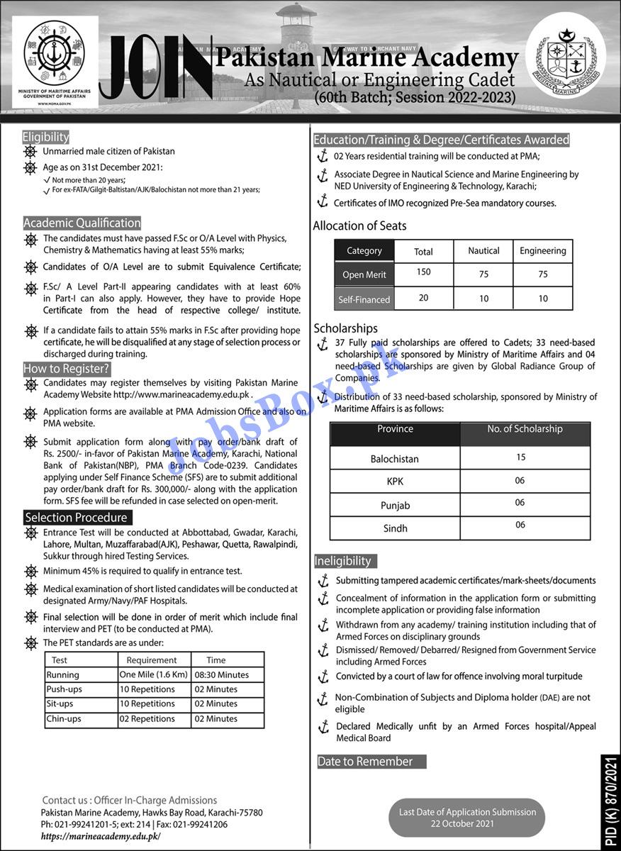 Join Pakistan Marine Academy Jobs Opportunities 2021 |  Jobs In Pakistan 2021 Online Apply