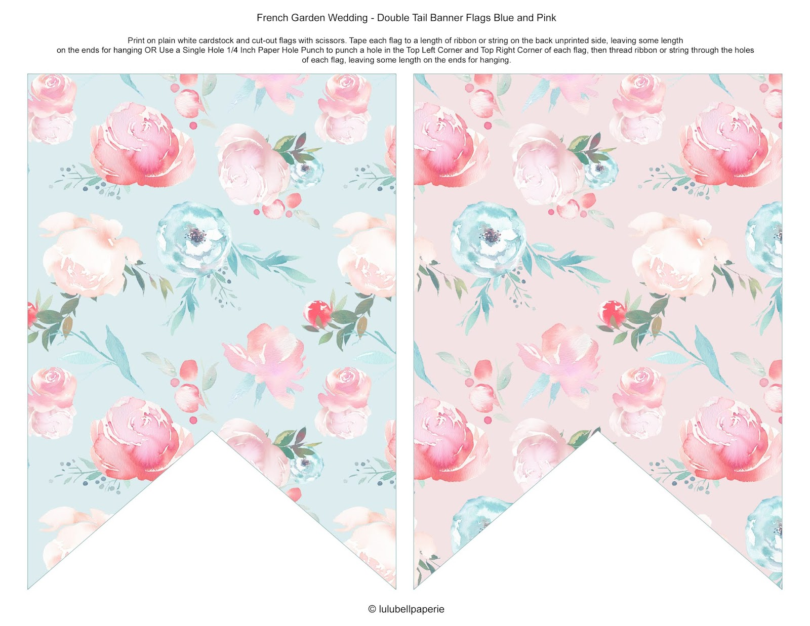 Chic French Garden Peony Floral Free Double Tail Bunting Banner DIY Printable