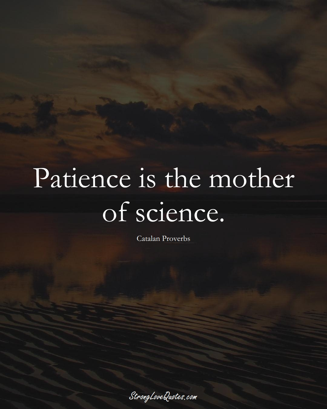 Patience is the mother of science. (Catalan Sayings);  #EuropeanSayings
