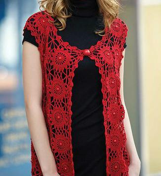 Elegant crochet cardigan with graphic