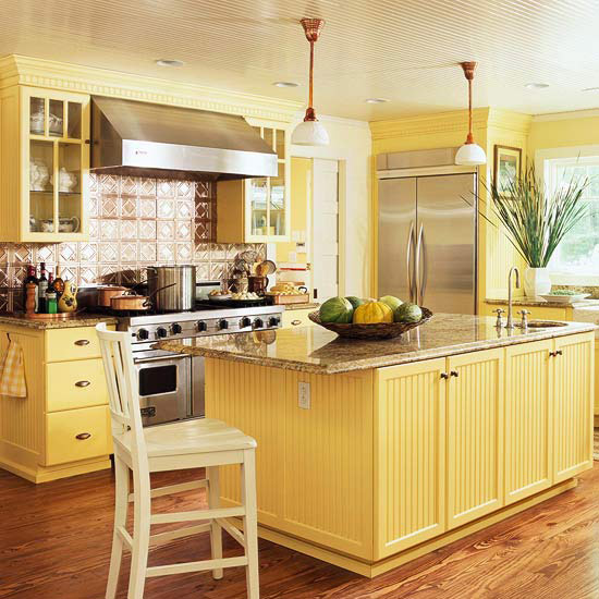 Traditional Kitchen Design Ideas 2014 With Yellow Color