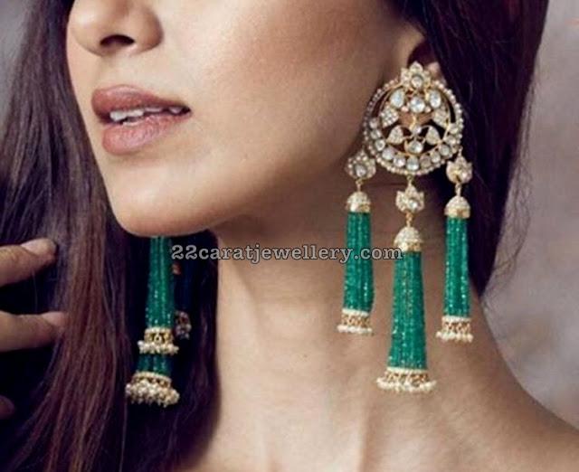 Emerald Tassels Diamond Hangings