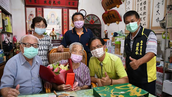 林世賢探望居住彰市已半世紀 全縣最高壽112歲人瑞梁李險
