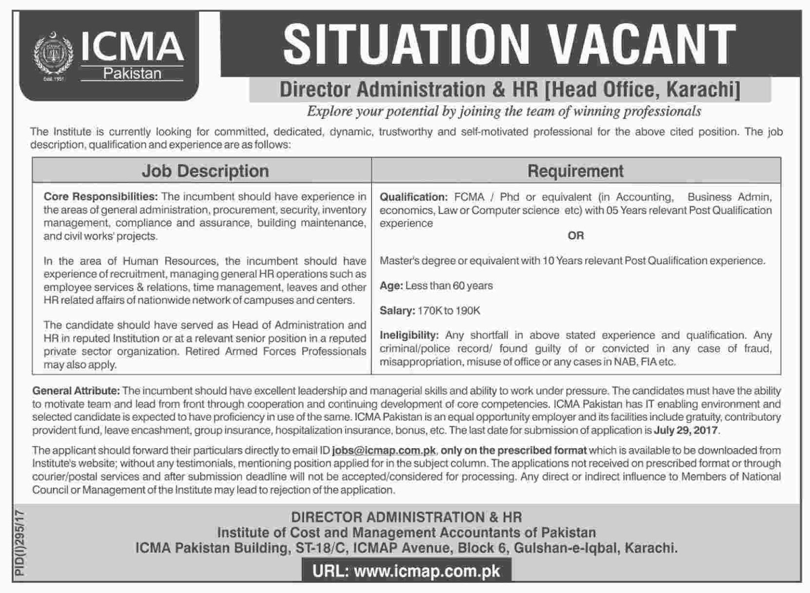 Director Administration & HR Jobs in Institute Of Cost & Management Accountants In Karachi  July 2017