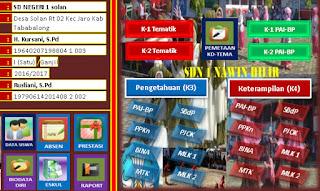menu Aplikasi Penilaian Kurikulum 2013 SD Revisi 2016 Kelas 1 Berbasis Excel