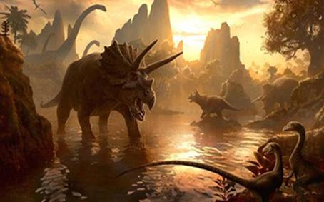 """L'image represente un paysage de la prehistoire, occupe par de nombreux dinosaures : sur la droite, au premier plan, on aperçoit deux velociraptors ; un peu plus loin se tient un triceratops et on peut voir encore plus loin les silhouettes de quelques-uns de ses congénères; très loin, tout à gaughe de l'image, le cou d'un diplodocus se détache sur le ciel dans lequel flotte également une ombre que l'on devine être un pterodactyle. Tous ces dinosaures prennent place dans un décor aux couleurs chaudes : du brun, de l'orange, du jaune. Ces tons chauds enveloppent d'une lumière diffuse la scène qui semble du coup baignée dans le feu. Cela crée une atmosphère étrange d'hostilité et de dangerosité du milieu dépeint, impression encore renforcée par la mine farouche des dinosaures ainsi que leur concentration extraordinaire dans un si un petit espace. Tous ces elements créent un environnement qui semble extrêmement hostile, dans lequel semble régner le chaos et la loi du plus fort. Cette image illustre donc à merveille le poeme du Marginal Magnifique intitule a juste titre """"Les ages farouches"""" dans lequel le grand poete exprime sa vision de lepoque actuelle, qu'il considere avec lucidite comme une epoque farouche où l'on ne peut plus faire confiance a personne, ou il n'y a plus de valeurs, ou regne le chaos et la detresse. Le Marginal crie en fin de ce poeme sa volonte de ne pas participer a un tel systeme, de rester integre, seul s'il le faut. Bravo Le Marginal !"""