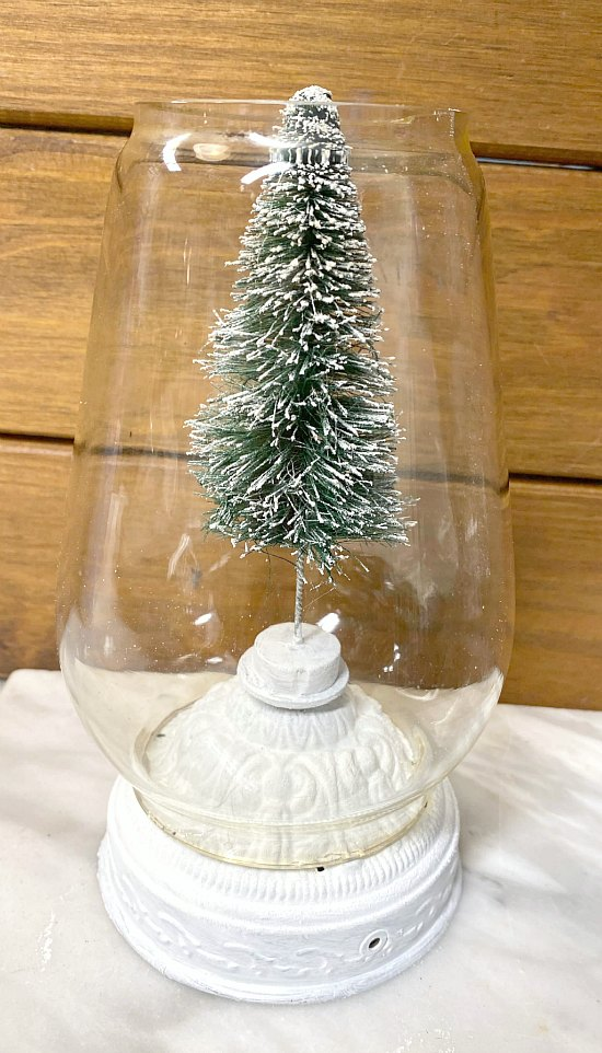bottle brush tree snow globe