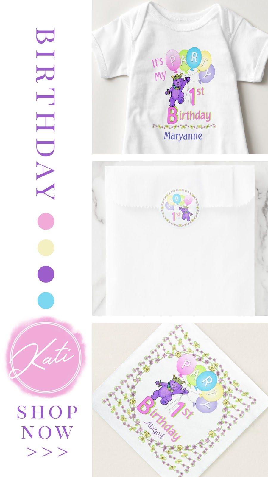Purple bear and balloons first birthday party collection. Featuring personalized apparel, stickers, favors, gifts, and party decor. In a confetti pink, sweetness yellow, cotton candy blue, and playful purple color palette.