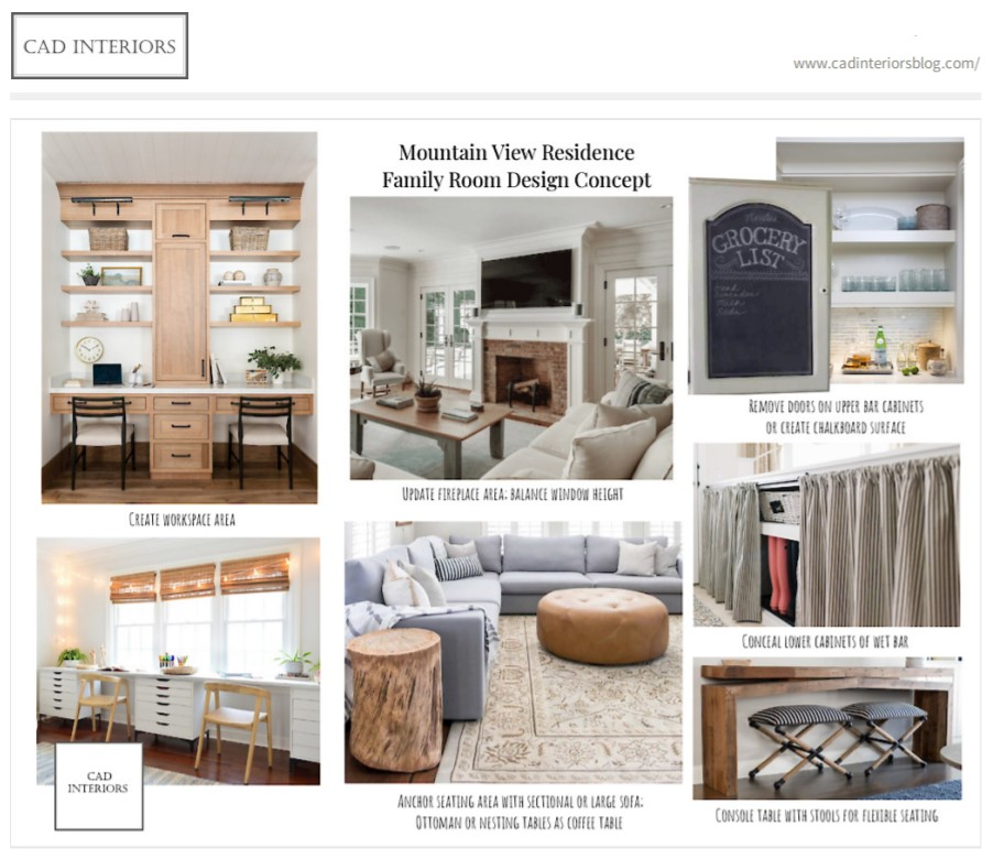 CAD Interiors E-Design Project - Family Room and Home Workspace