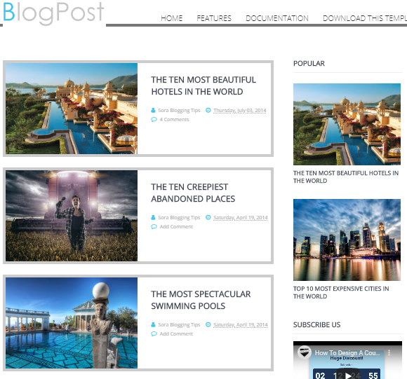Free blogger photography template
