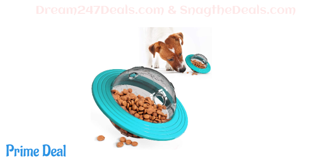58%off USWT Dog Treat Ball, UFO Food Dispenser Puzzle Slow Feeder Ball, Interactive Dog Frisbee Toy