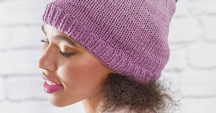 Free Knitting Pattern for an Ombre Hat using Red Heart Super Saver Ombre Yarn