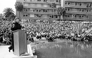 Jane Fonda giving anti-war speech at University of Florida in 1971
