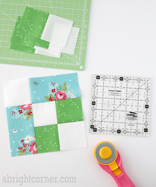 Icebox Cookie quilt block found on A Bright Corner - charm pack quilt pattern from the Perfect 5 Quilts book by It's Sew Emma