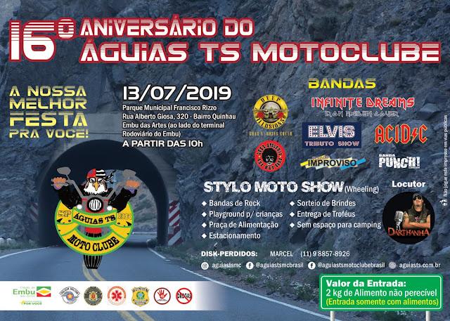 Dia do Rock em Embu das Artes. 13/07/2019. Águias TS Motoclube.