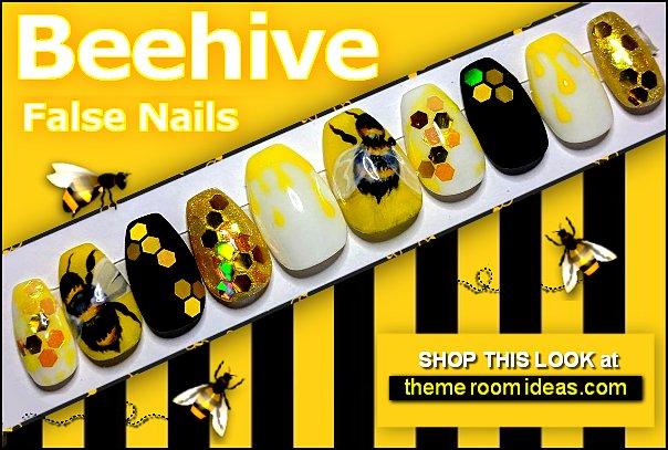 Beehive Press on Nails bees Fake Nails honeycomb False Nails Bee Nails Yellow Nails Honey Nails