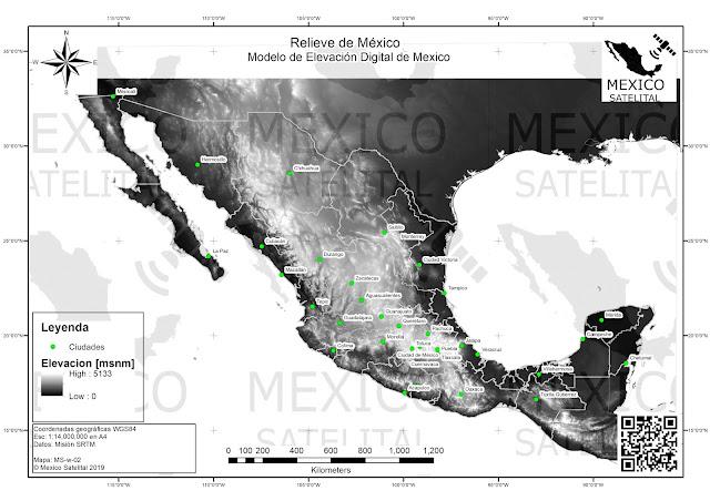 volcanes y montanas de Mexico en modelo de elevacion digital