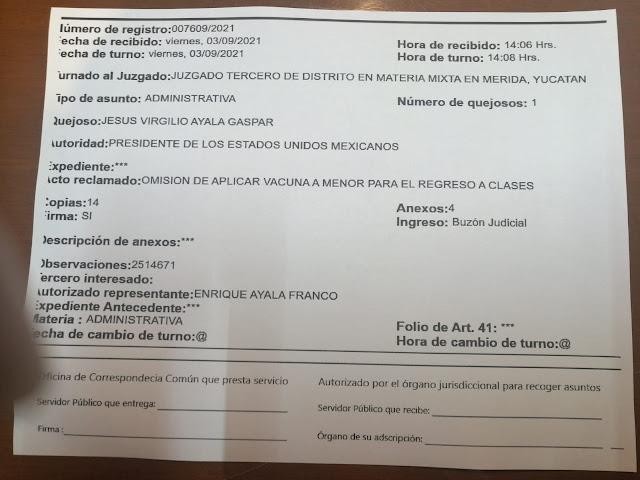 Presentan amparo federal para vacunar a un menor estudiante en Mérida
