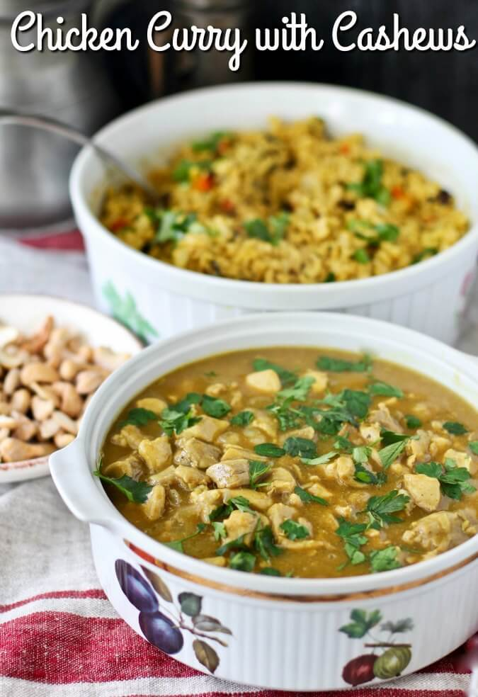 Chicken Curry with Cashews and Brown Basmati Rice Pilaf