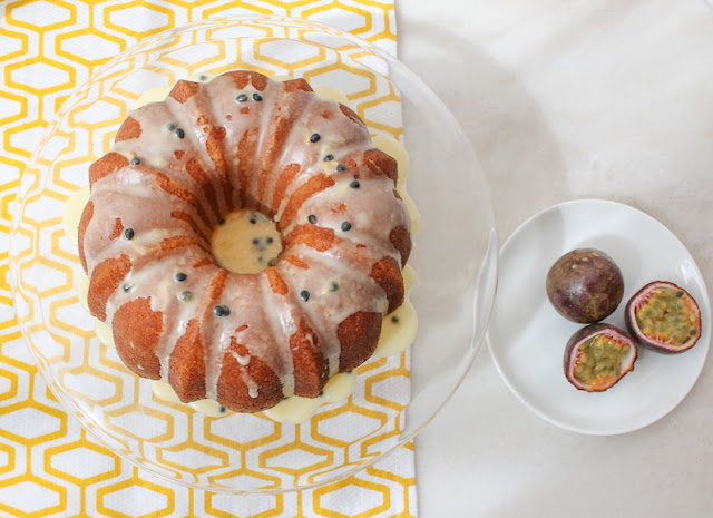 Food Lust People Love: Tart and sweet with a tender crumb, this passionfruit pound cake is topped with an equally flavorful passionfruit glaze. Bake in 6-cup Bundt pan.