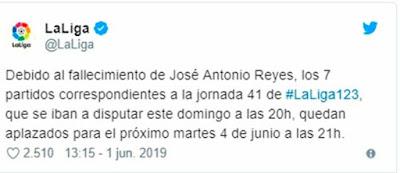 Partidos aplazados en La Liga 123 por la muerte de José Antonio Reyes en accidente de Tráfico