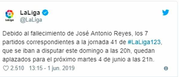Aplazados partidos por la muerte de José Antonio Reyes