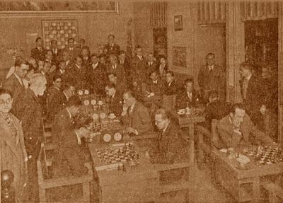Sala de juego del match de ajedrez Barcelona-Valencia, noviembre de 1933