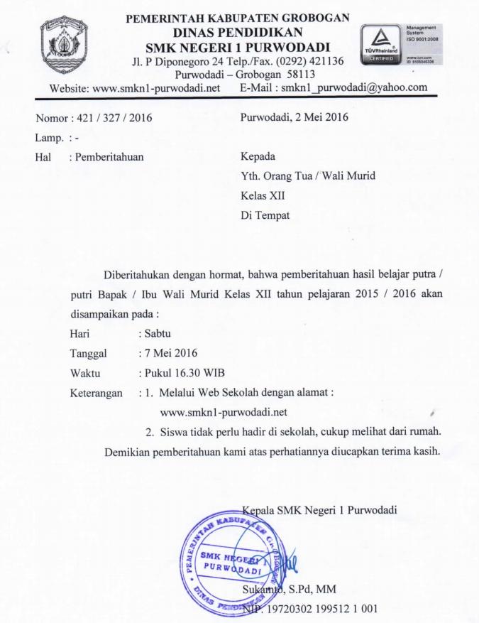 Surat Pemberitahuan Pengumuman Kelulusan Tahun 2016 Smkn 1