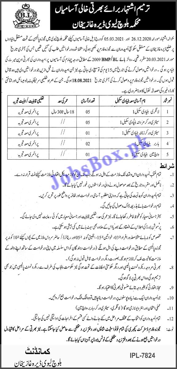Baloch Levy Dera Ghazi Khan Jobs 2021 in Pakistan