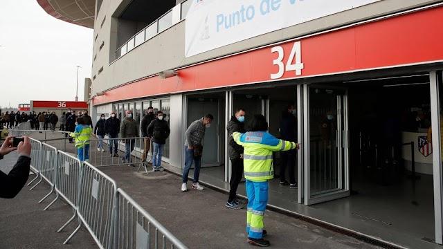 Huge vaccine centre set up in Atletico Madrid stadium