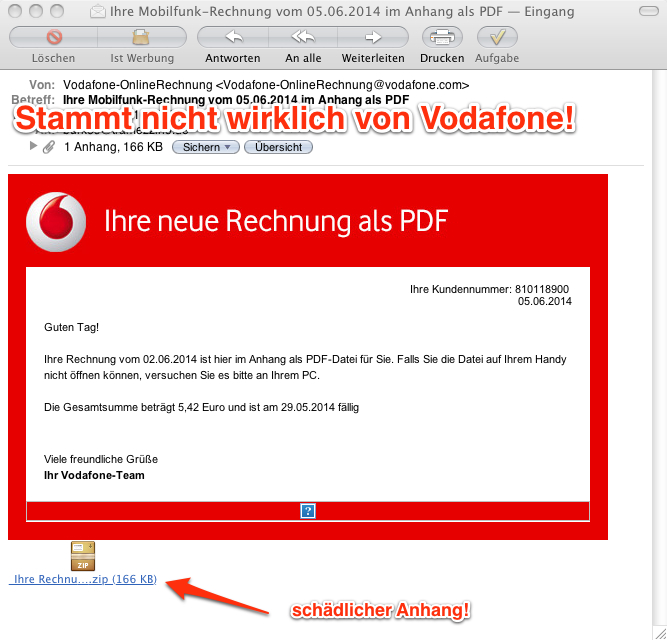 vorsicht email achtung gef lschte vodafone emails in. Black Bedroom Furniture Sets. Home Design Ideas