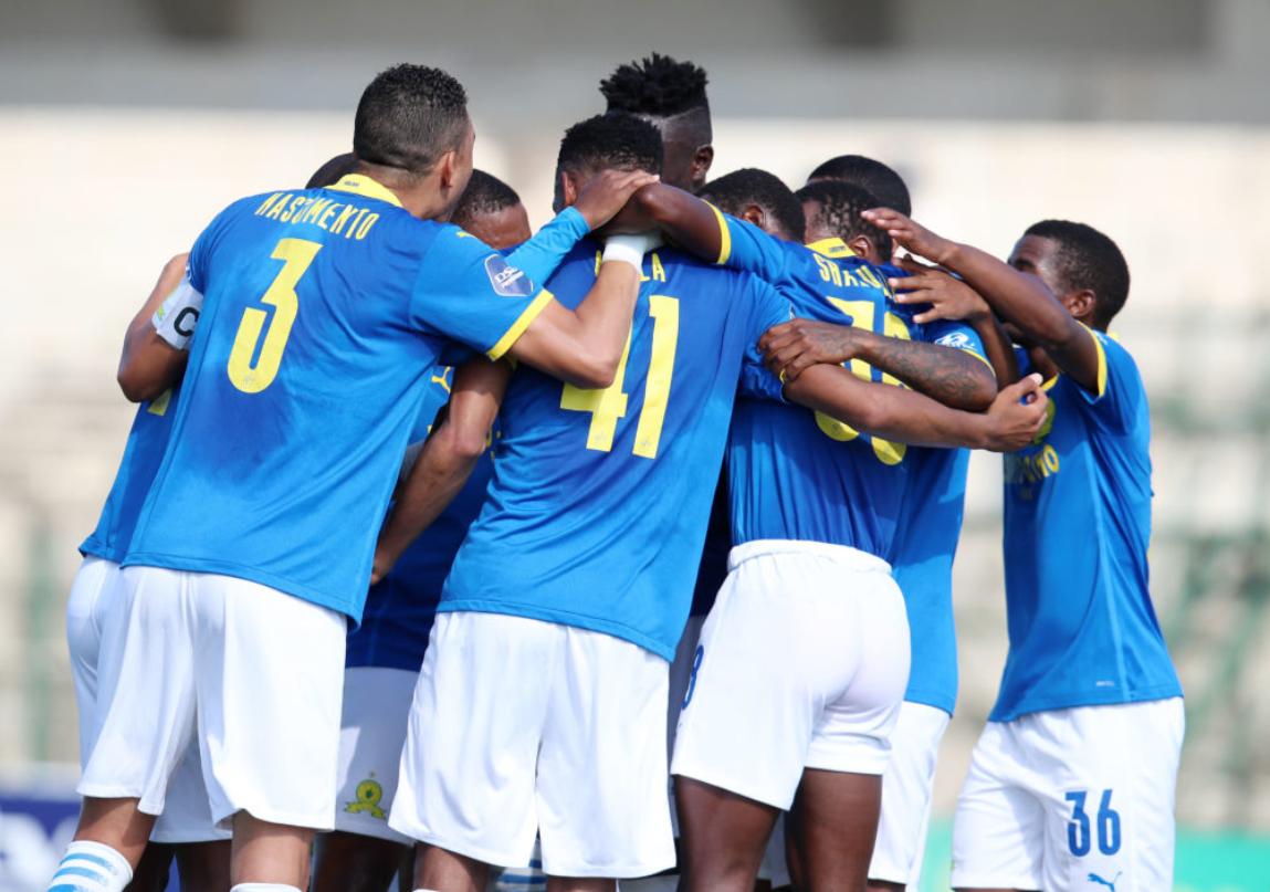 Mamelodi Sundowns celebrating their goal against Golden Arrows
