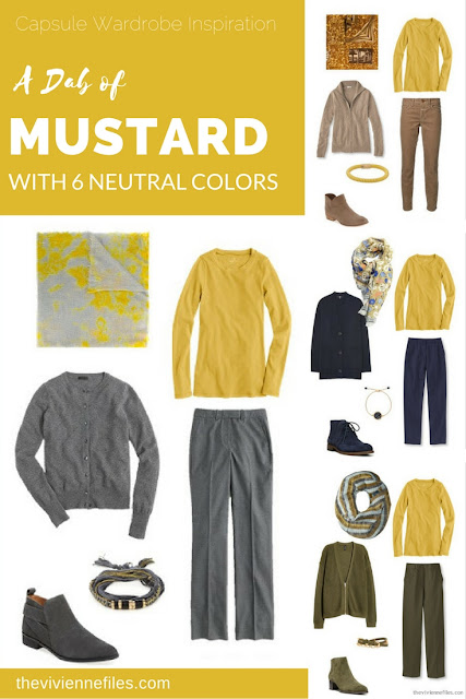 Capsule wardrobe colour palette inspiration - a dab of mustard yellow with 6 neutral colors