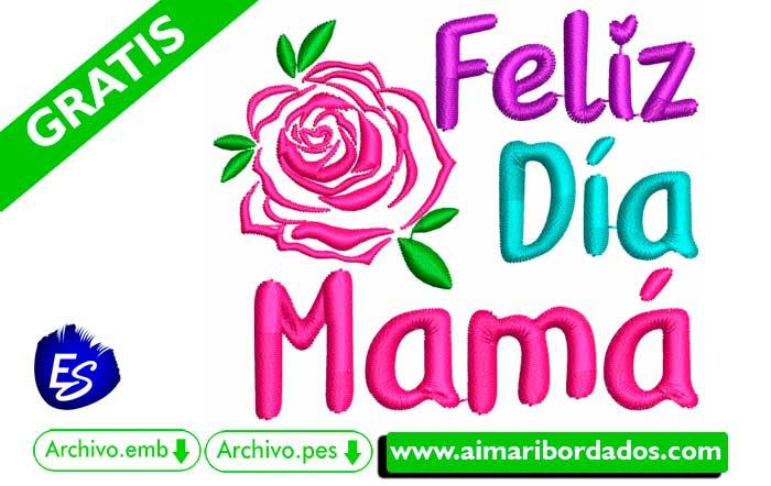 Bordado Feliz Día Mamá descargar Gratis
