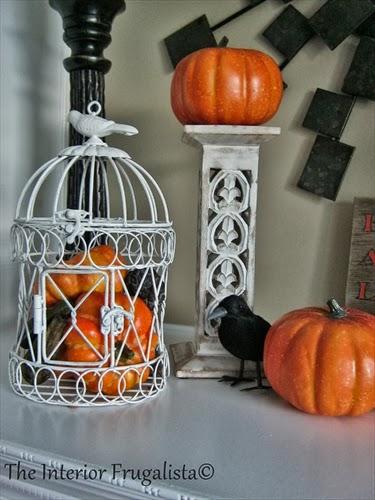 Bird Cage, mini pumpkins and a black bird.