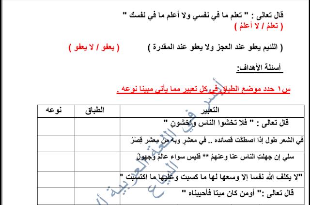 مذكرة لغة عربية البلاغة الصف العاشر الفصل الثاني إعداد هاني البياع
