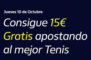 william hill Consigue 15€ Gratis apostando a Tenis 10-10-2019