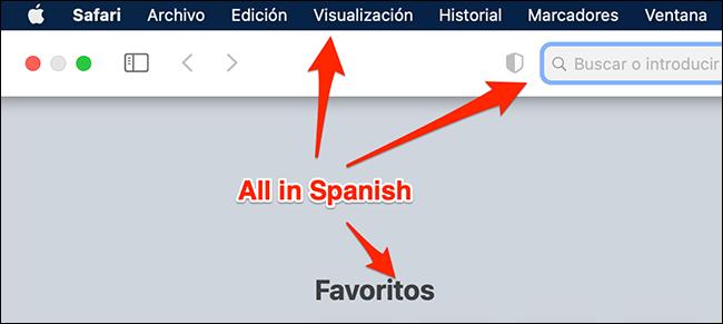 Safari باستخدام الإسبانية على جهاز Mac.