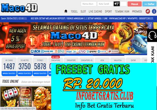 MACO4D – FREEBET GRATIS