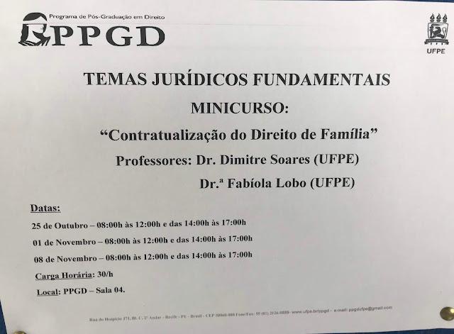 Minicurso - CONTRATUALIZAÇÃO DO DIREITO DE FAMÍLIA