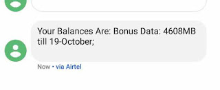 A message from Airtel showing data bonus balance of 4608mb(4.6gb)