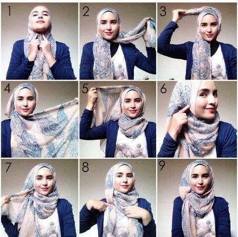 25+ Tutorial Hijab Segi Empat Terbaru 2017: Simple & Modis