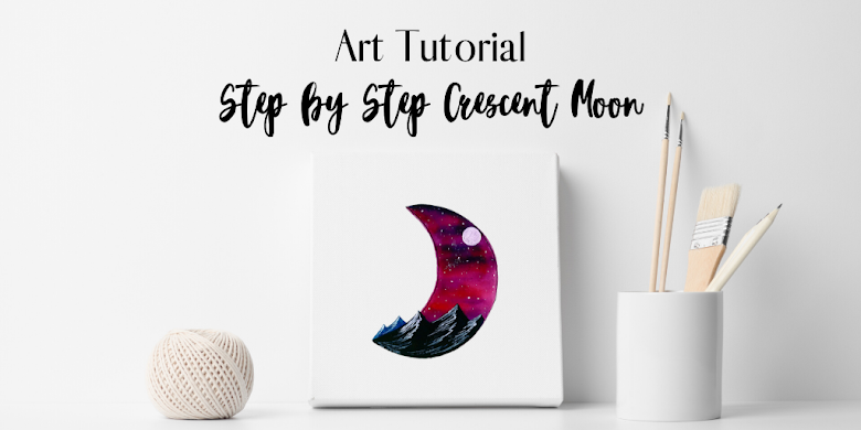Step by Step Crescent Moon – using waterbrush pens