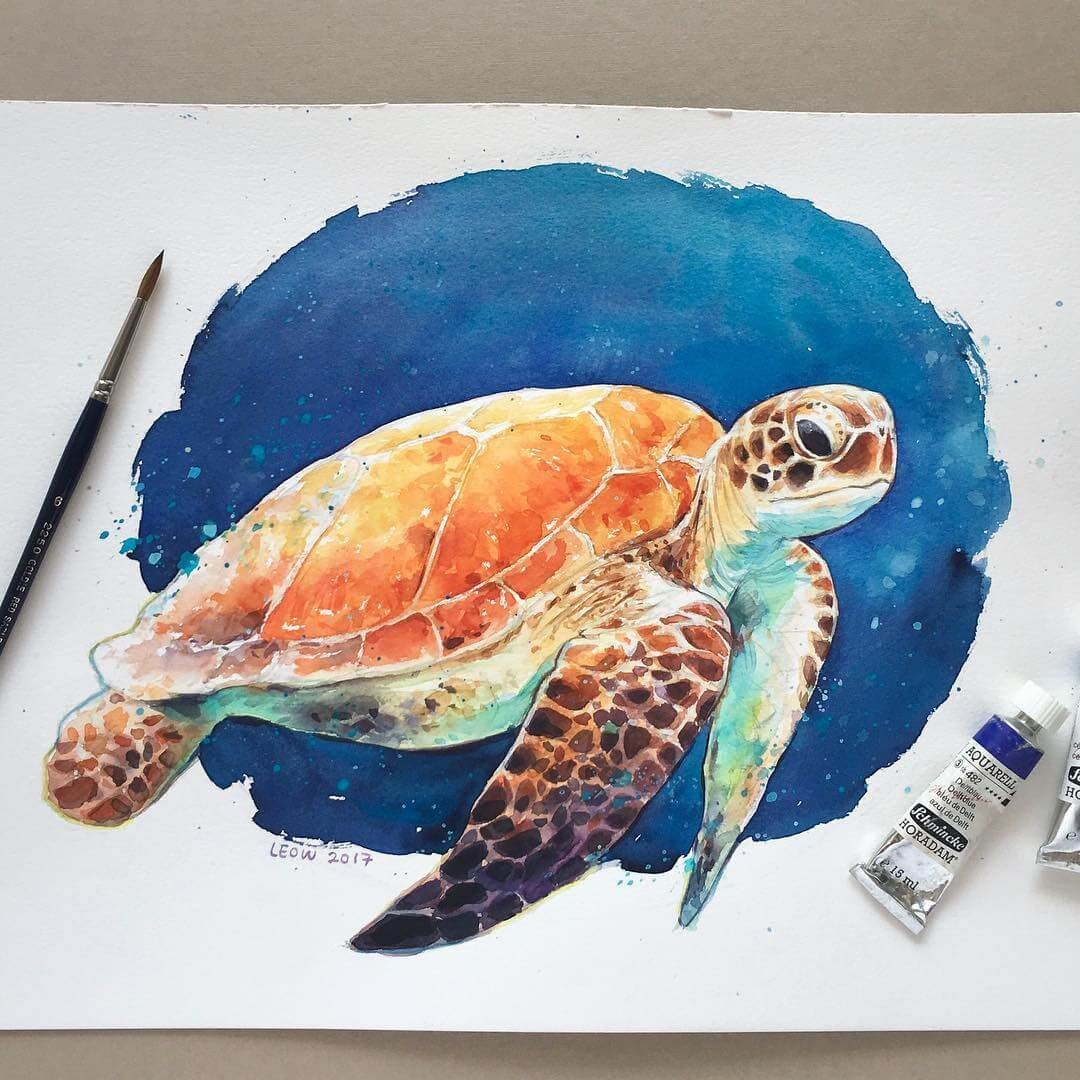 05-Sea-turtle-Leow-Fantastic-Mix-of-Watercolor-Paintings-www-designstack-co