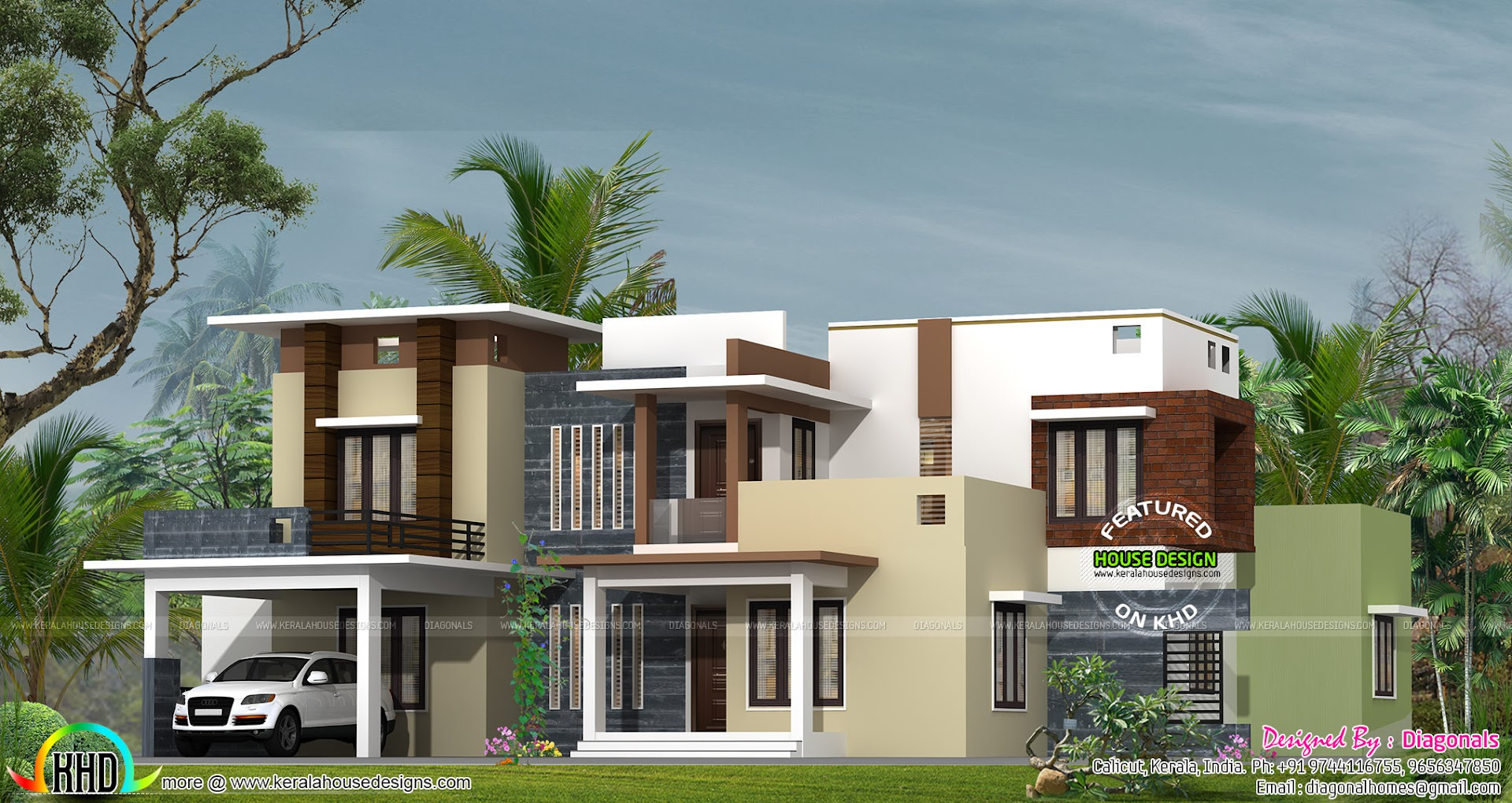 Modern box type Kerala home design - Kerala home design ...